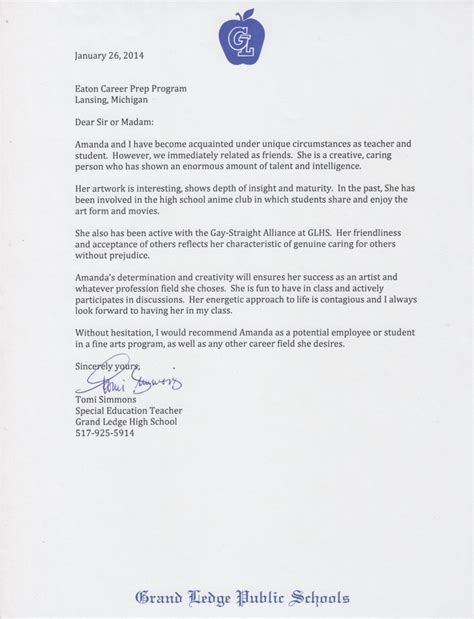 Recommendation Letter For A Course Letter Of Recommendation 3d Animation Class