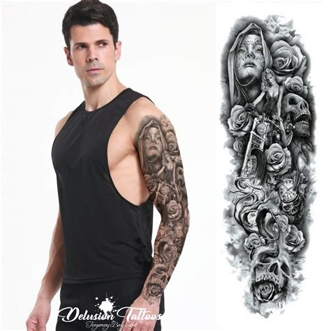 removable tattoo sleeves realistic temporary sleeve arm hells skull