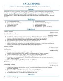 executive assistant cv exle for admin livecareer