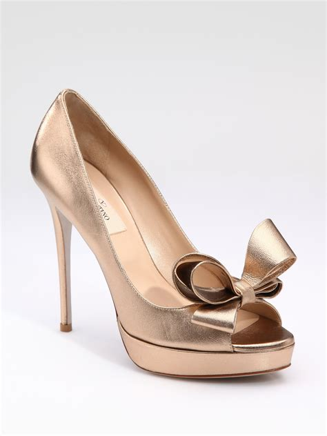 Valentino Metallic Bow Dorsay by Valentino Couture Bow Pumps In Gold Bronze Lyst