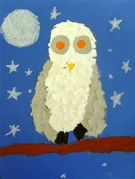 Snowy Owls Torn Paper Collage January 2013 Crafts - the crayon lab narwhals are the new owls