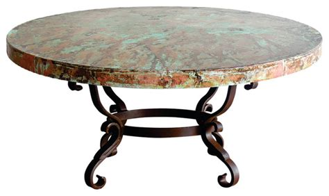 hammered copper coffee table iron oxidized hammered copper top coffee table