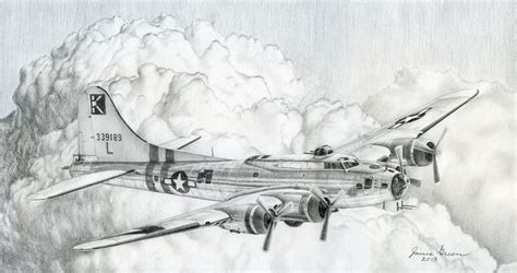 B 17 Sketches by 447th Bomb B 17g Drawing By Jamesgreenfineart On
