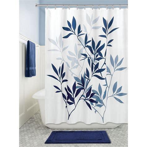 slate blue shower curtain interdesign leaves soft fabric shower curtain 72x72 inch