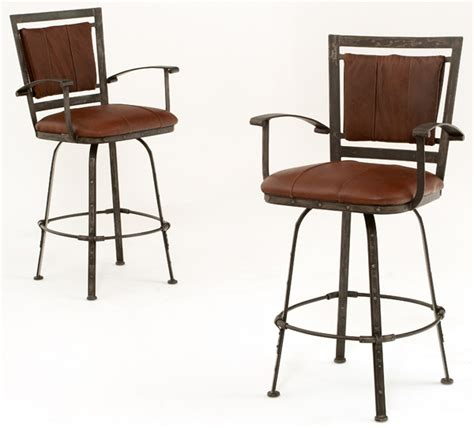 Western Leather Bar Stools by Forged Metal Bar Stools Design 2 Woodland Creek Furniture