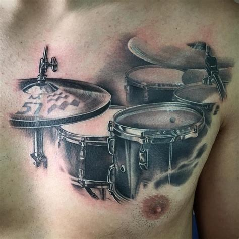 drum tattoo realistic drum set black and grey by yarda tattoos