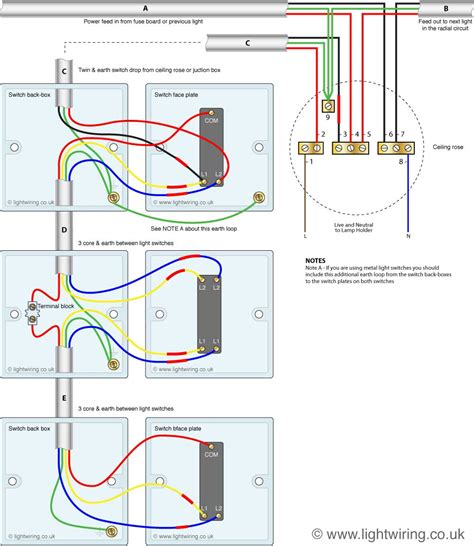 three way light switching circuit diagram cable
