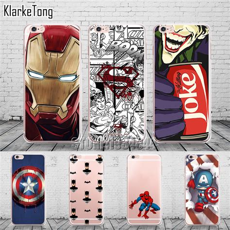Casecassingcasing Soft Jelly Superman Comic For Iphone 6 cool marvel transparent tpu cover for iphone 6 6s 5