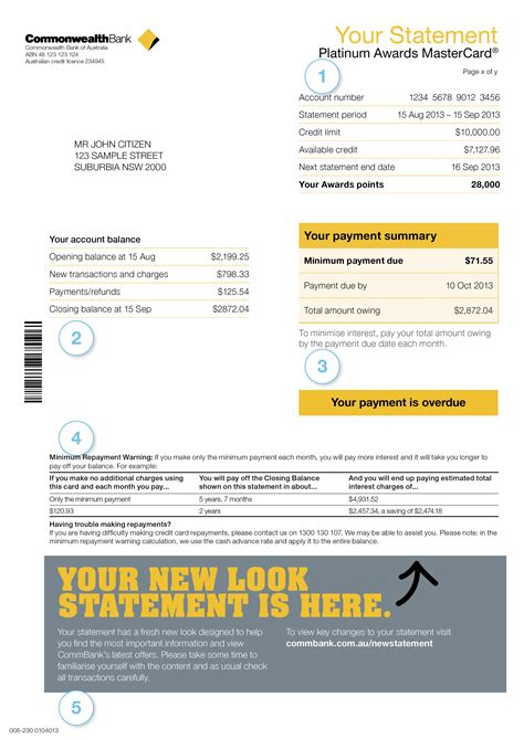 credit card statement template commonwealth bank statement template best template