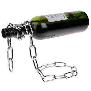 wine holder gravity defying chain wine bottle holder stuff you