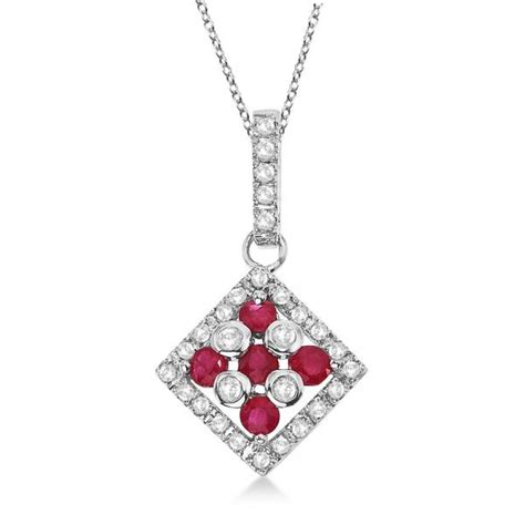 Ruby 7 55ct ruby square pendant necklace 14k white gold 0
