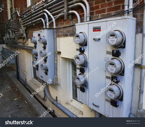 Apartment Building Electricity Meter Several Rows Electric Gas Meters On Stock Photo 86051155