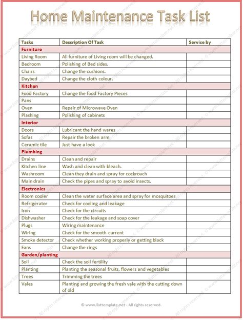 Home Maintenance Task List Template Word Home Repair List Template