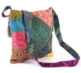 Sari Patchwork - fair trade embroidered recycled silk sari patchwork bag