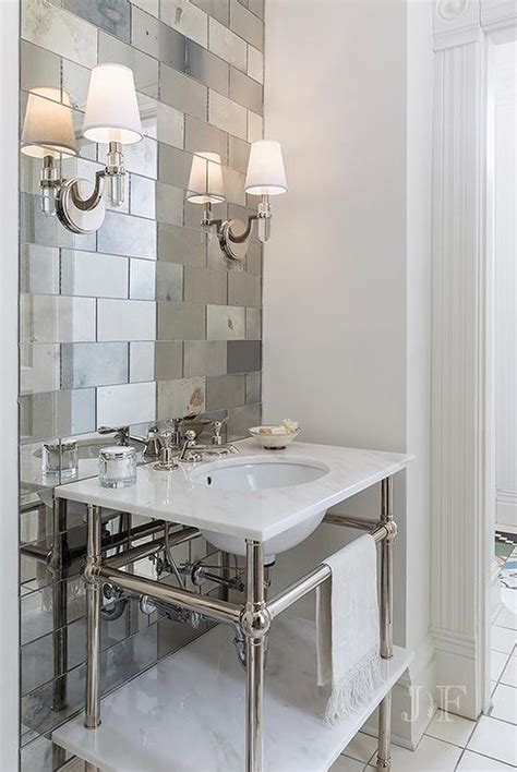 mirrored bathroom wall tiles antiqued mirrored subway tiles with marble washstand