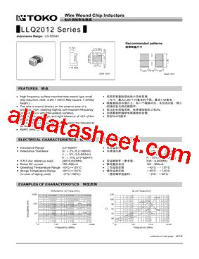 toko inductor datasheet llq2012 f27n datasheet pdf toko inc