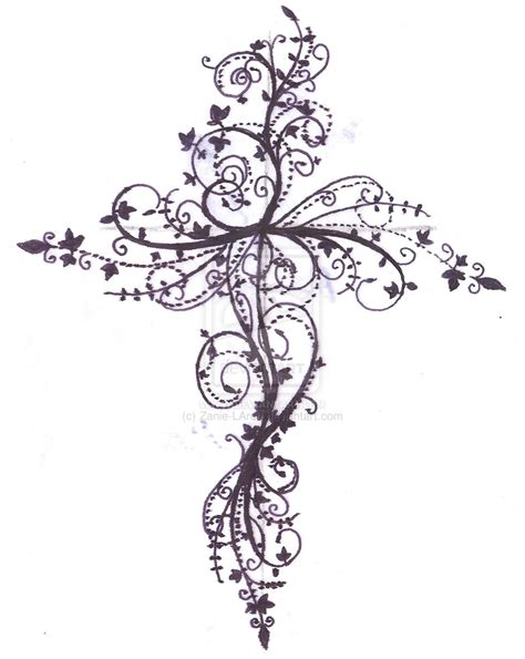cross with scroll tattoo fancy scroll cross clipart
