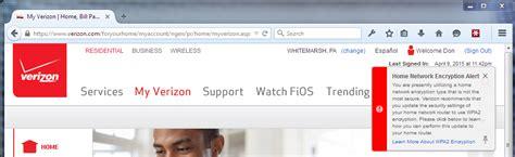 re my verizon site home network encryption alert defect