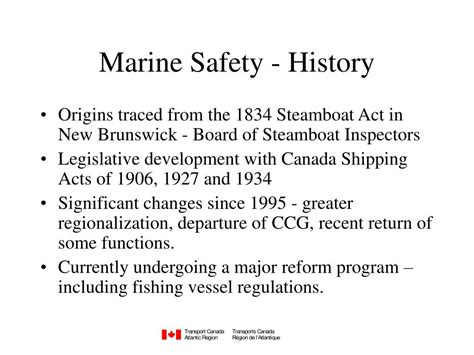 boat safety transport canada ppt marine safety branch transport canada powerpoint