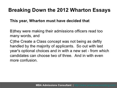 Wharton Mba Application Essays by Wharton Essay Questions 2012