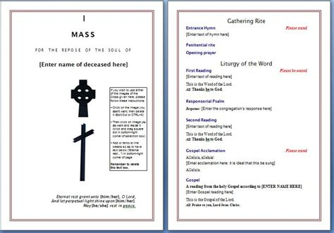 free funeral program template free funeral program template microsoft word templates