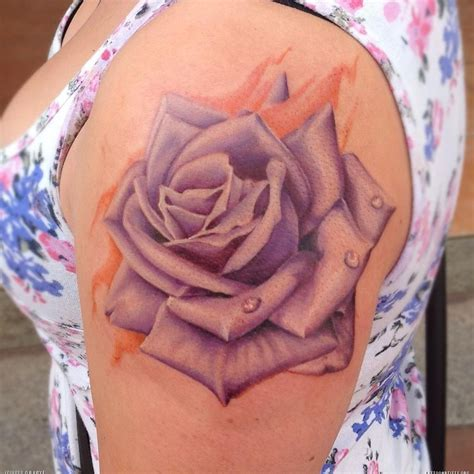 violet and rose tattoo beautiful black shoulder for