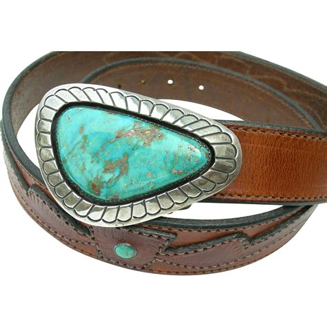 Handcrafted Belt Buckles - gene jackson sterling and turquoise belt buckle