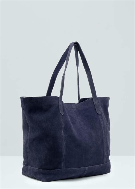 Handbag Mango lyst mango leather shopper bag in blue
