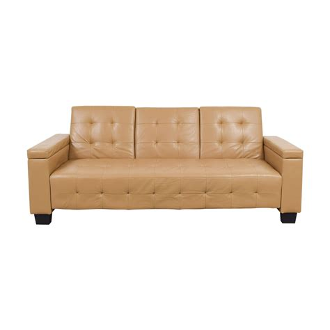 41 Off Tufted Khaki Leather Sofa Futon Sofas Tufted Sofa Leather