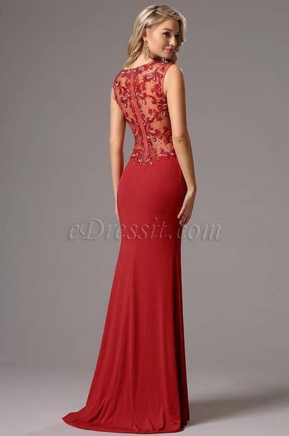 edressit sleeveless beaded sweetheart neck red prom gown