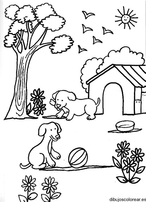 imagenes de animales jugando para colorear dibujo de perros con una pelota