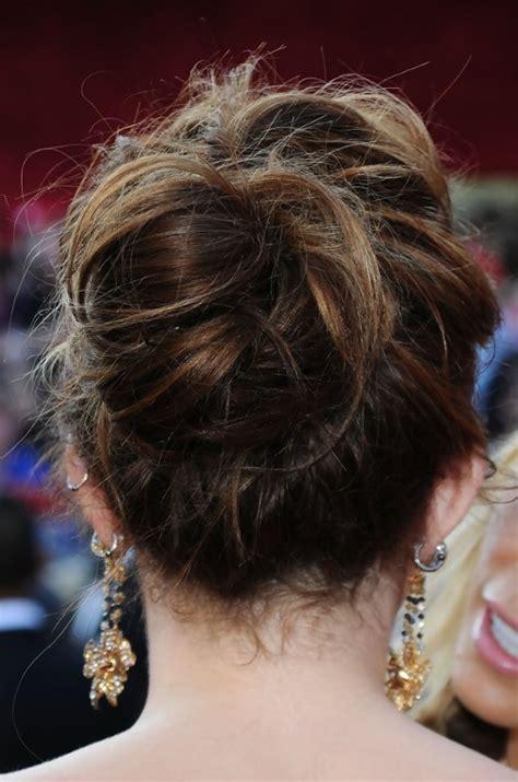 loose bun hairstyles weekly miley cyrus romantic loose bun updo for wedding