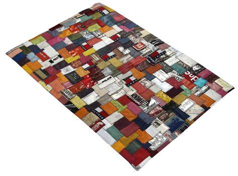 leder teppich handgefertigter label lederteppich multicolour