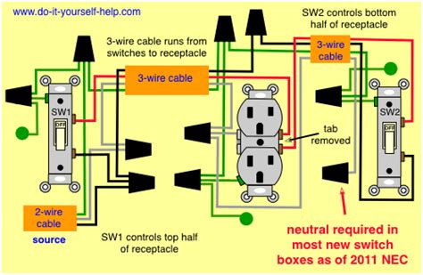 updated diagram for two switches to one receptacle
