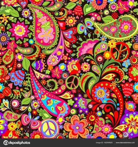 hippie bloemen kleurrijke bloemen behang met hippie symbolische