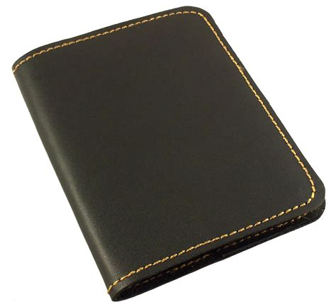 Refillable leather pocket notebook mini composition cover black