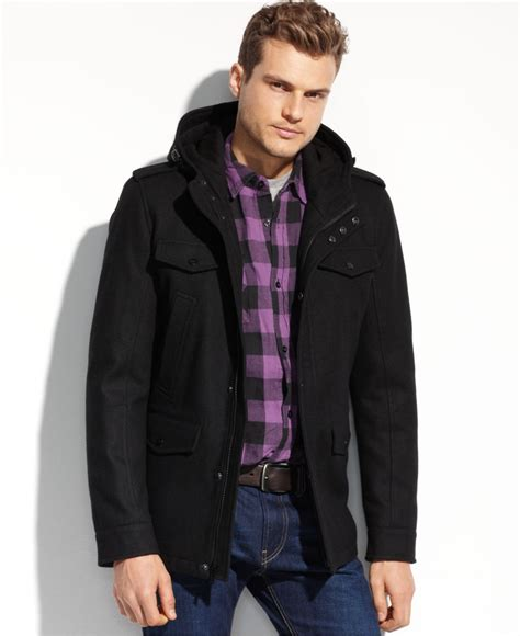 Jaket Hoodie Piaggo Keren Dan Trendy Jaket Zipper Murah guess wool four pocket hooded coat in black for lyst