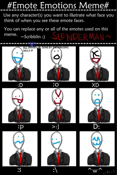 slender meme emote emotions meme slenderman by ladylemmon by