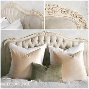 eloquence weathered white tufted headboard