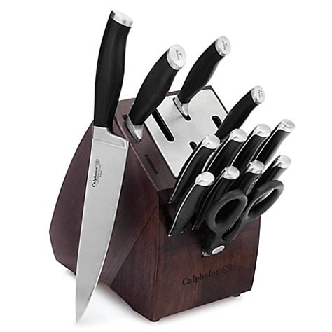 self sharpening kitchen knives calphalon 174 contemporary self sharpening 14 piece cutlery set with sharpin technology bed bath