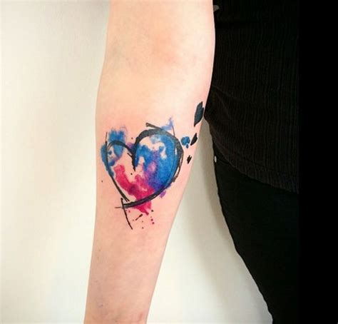 watercolor tattoo heart fall in with these watercolour tattoos