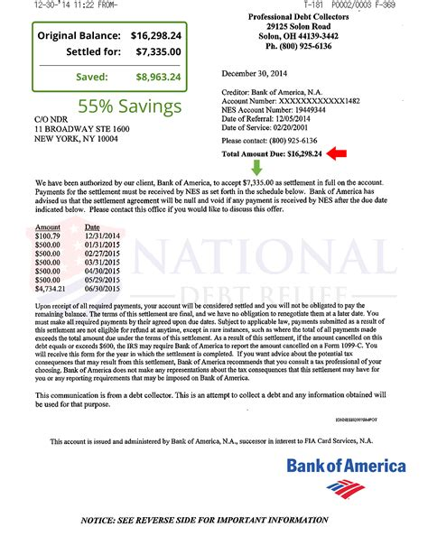 Bank America Credit Letter Debt Settlement Letters
