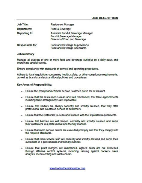 food and beverage manager resume sle food service manager responsibilities 28 images food