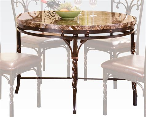 acme faux marble top dining table burril ac70584