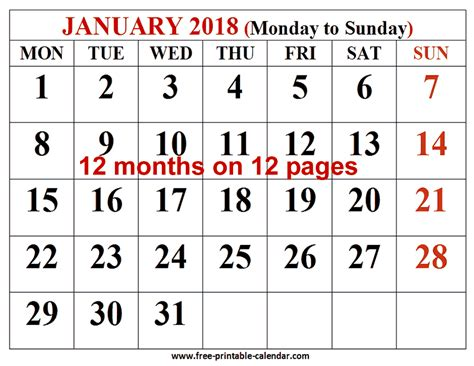 printable calendar 2018 large free printable calendar 2018 for free download 12 month