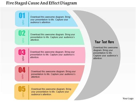 Five Staged Cause And Effect Diagram Flat Powerpoint Design Powerpoint Presentation Pictures Cause And Effect Diagram Template Powerpoint