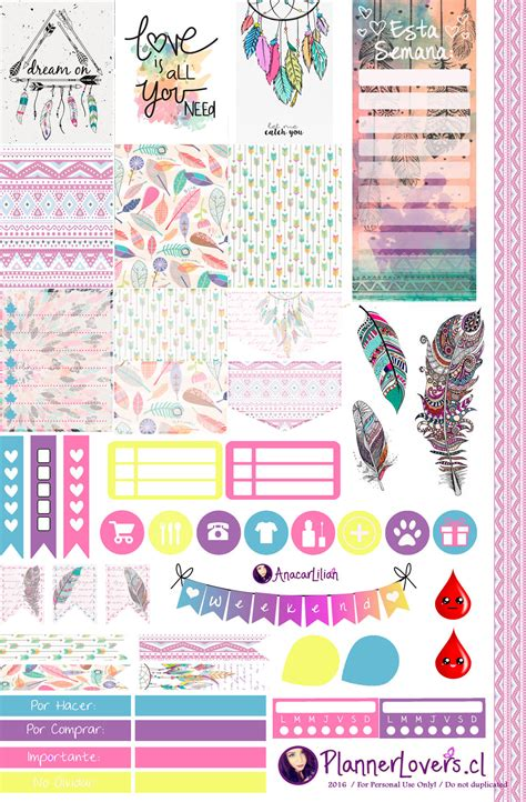 free printable planner art tribal rainbow free printable stickers 4 planners by