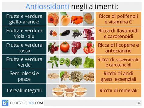 alimenti ricchi di antiossidanti naturali antiossidanti cosa sono benefici tipi ed effetti