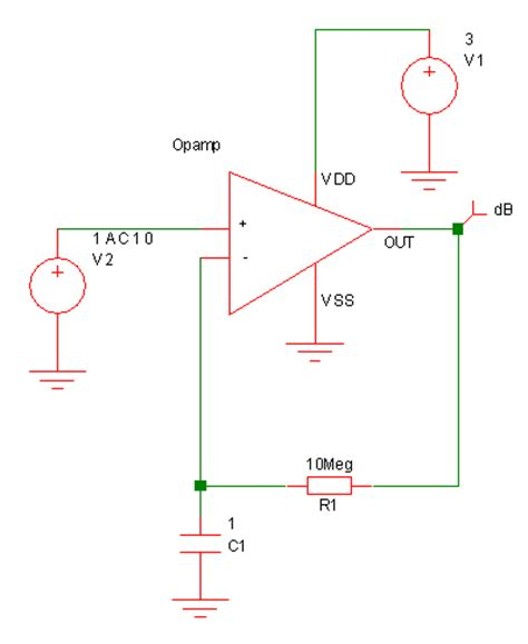 feedback resistor measuring op open loop gain with spice