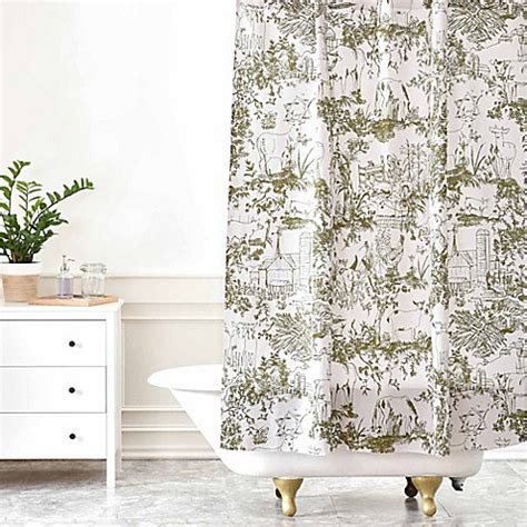 green toile shower curtain buy deny designs rachelle roberts farm land toile shower